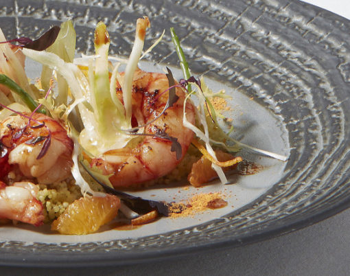 Red Sicilian prawns with couscous salad, fennel confit and blood orange