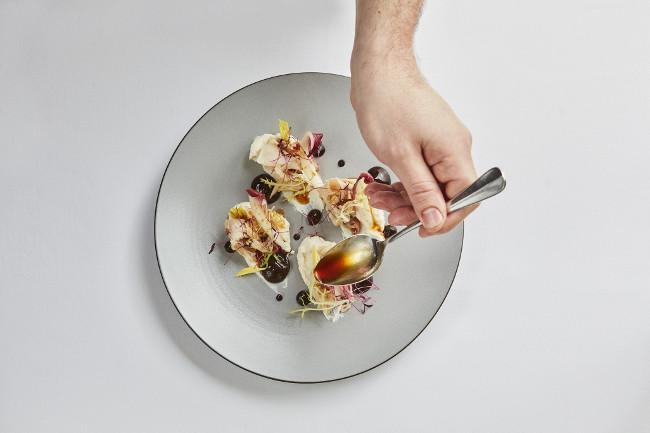 Slow-cooked marinated rabbit, lightly smoked organic English ricotta, black garlic, red chicory copy