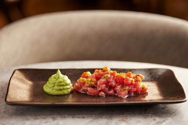 The delicious tuna tartare with avocado mousse