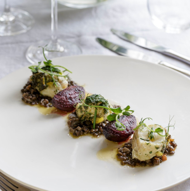 The delicious monkfish, beetroot and lentil dish