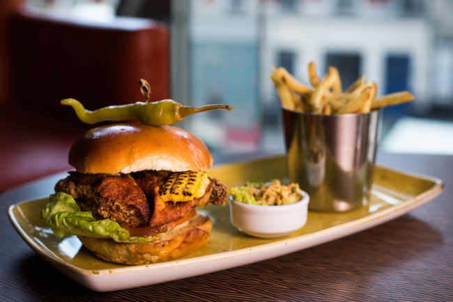 Crispy chicken burger, pickled chillies, Mexican cheddar, sweetcorn relish
