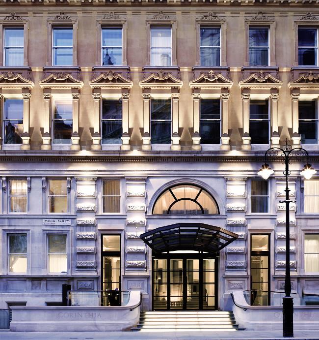 Exterior shot Whitehall entrance Corinthia Hotel London