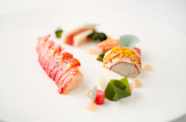 Restaurant Coworth Park-Butter poached lobster, radish, watermelon and sea herbs-highres5