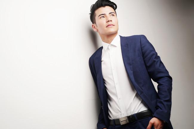 man white shirt blue suit