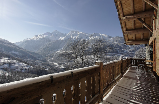 View from the balcony of Chalet Merlo on a beautiful day after a snowfall.