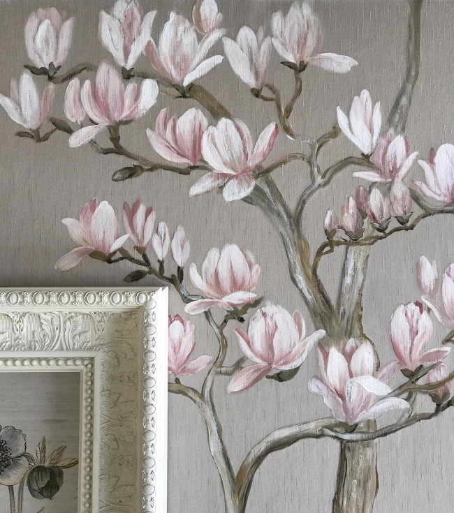 Magnolia and Hellebore painted on to James Hare silk wallcovering by artist Rosie Mennem