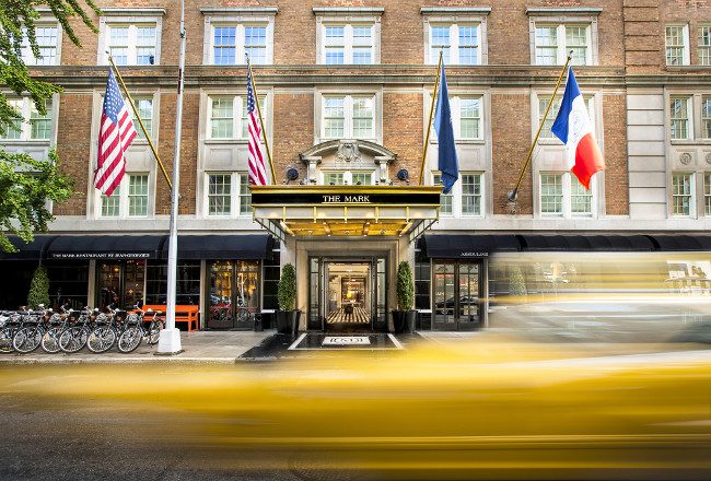 A daytime view of the atrium entrance to The Mark Hotel, NYC