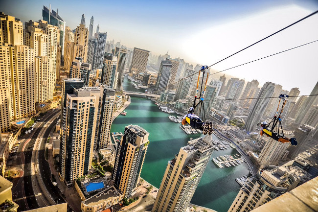 Double zip-line opened in Dubai Marina