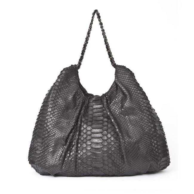 Fareesa Laykh Shoulder Handbag (Black Python Belly Matte Finish Italian Leather) Hong Kong _ 1