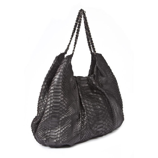 Fareesa Laykh Shoulder Handbag (Black Python Belly Matte Finish Italian Leather) Hong Kong _ 2