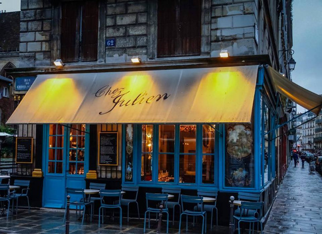 Chez Julien is located in the hip Le Marais district