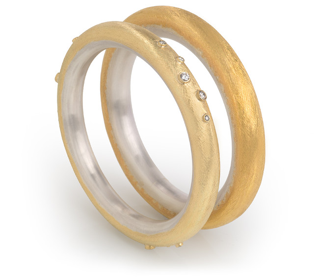 18ct Yellow Gold and Silver Small Hollow Bangle and 22ct Gold and Silver Large Hollow Bangle