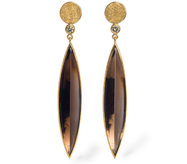 24ct Gold and Silver Smokey Quartz Navettes and Diamonds Earrings