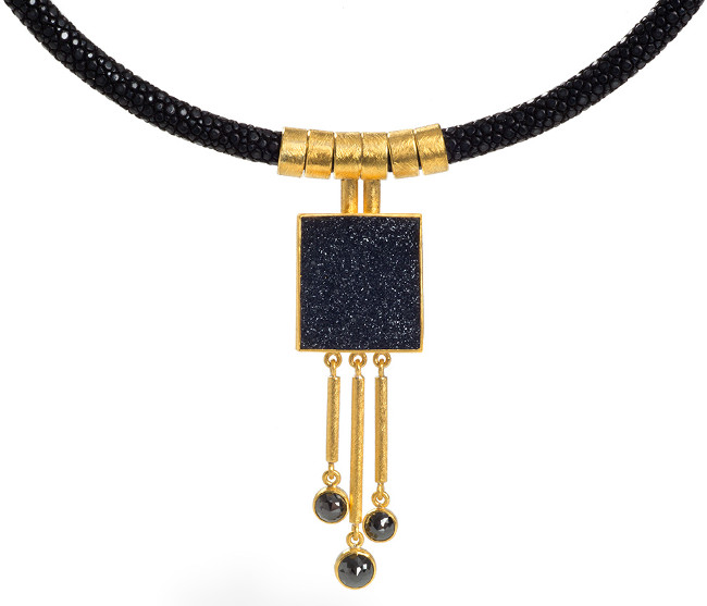 24ct Gold and Silver Sting Ray Necklace with Black Druzy Agate and Black Rose Cut Diamonds