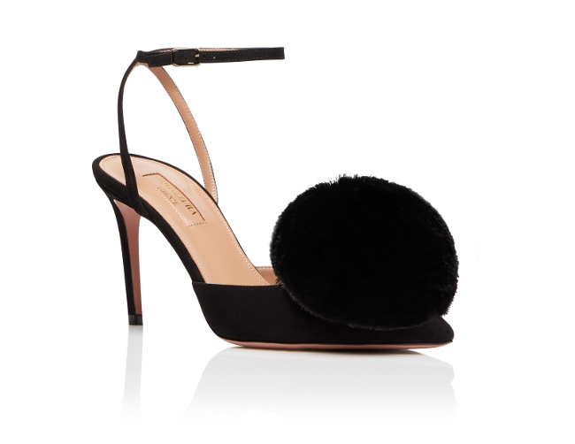 Aquazzura-Slingback-Powder-puff-sling-85-Black-Suede-leather-Front