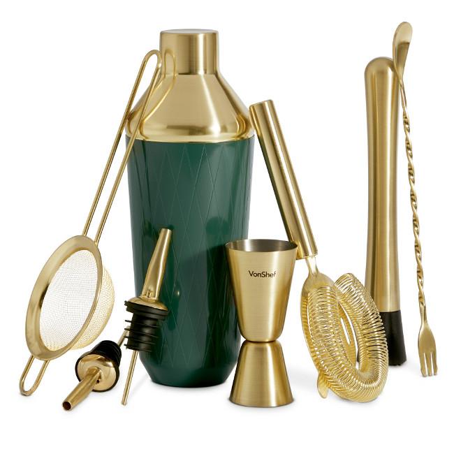VonShef Green & Brushed Gold 9pc Cocktail Set