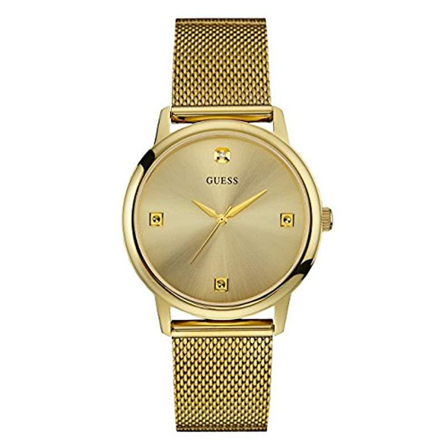 Guess Stainless Steel Diamond Dial Mesh Bracelet Watch
