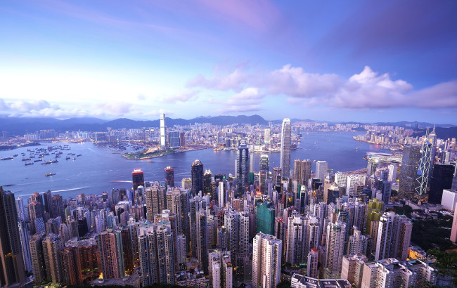 Hong Kong at evening view from peak