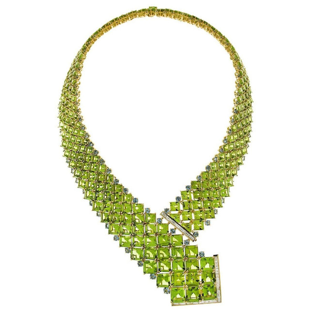 Square Peridots with Round Aquamarines and Baguette Diamond Necklace by Valentin Magro