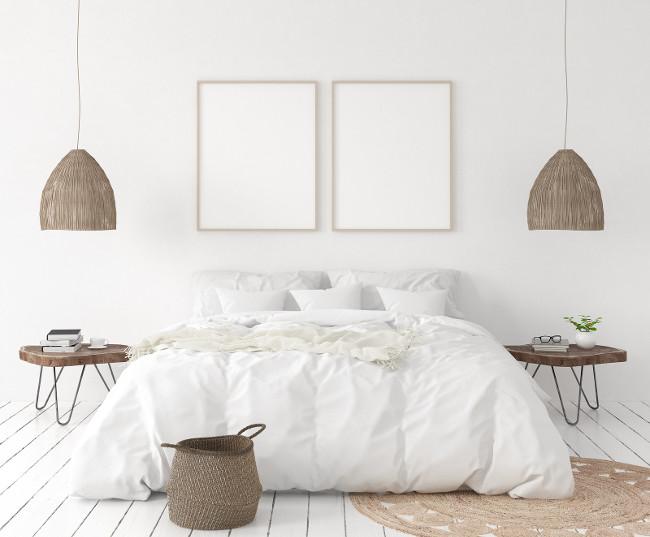 Mock-up poster frame in bedroom, Scandinavian style, 3d illustration