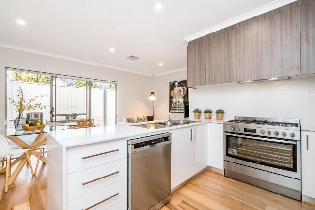 Modern kitchen interior with light coloured Scandinavian interior design. PERTH, WESTERN AUSTRALIA. Photographed: February, 2018.