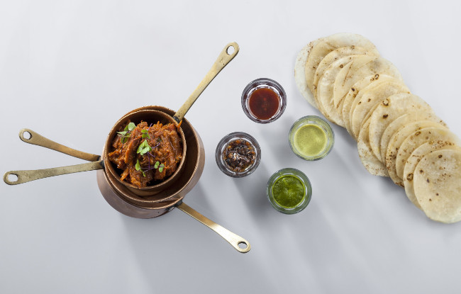 Indian Accent - ghee roast lamb, roomali roti pancakes, chutneys