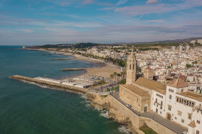Aerial view of Sitges, small town near Barcelona
