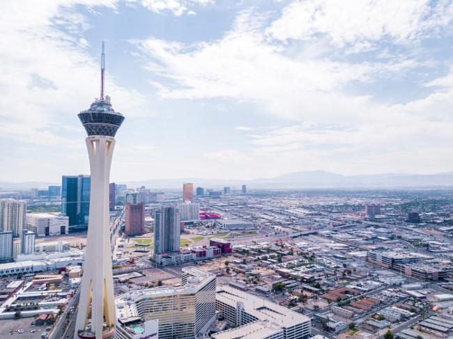 Aerial view of the Stratosphere hotel on July 29, 2013 in Las Vegas, Nevada. Beautiful aerial footage view of the Stratosphere hotel which is the tallest building in Las Vegas.