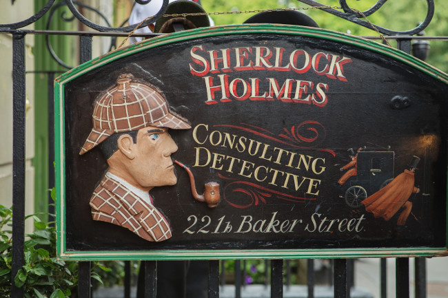 LONDON - AUGUST 24 2017: The Sherlock Holmes museum is located on Baker Street and is dedicated to the fictional detective Sherlock Holmes.