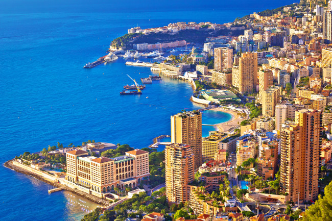 Monaco and Monte Carlo cityscape and harbor aerial view, Principality of Monaco