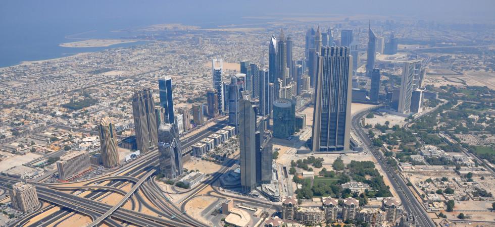 UAE, DUBAI - SEPTEMBER 5, 2016: View on Dubai downtown from the top Burj Khalifa, United Arab Emirates, Persian Gulf, Arabian Peninsula, Middle East