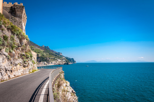 The scenic coastal road near Maiori, Amalfi Coast, Italy