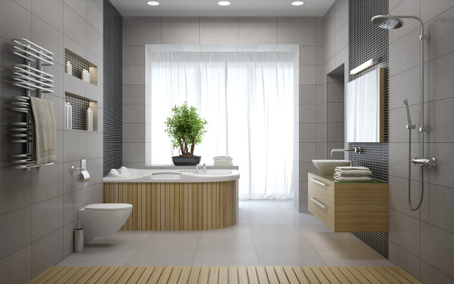 Interior of the modern design bathroom 3D rendering