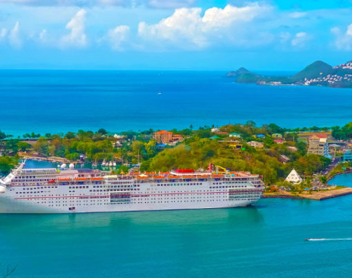 The port or cruise dock at Saint Lucia island at Caribbean sea