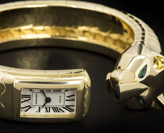 Cartier Rare Panther Lakard Bangle Emerald & Onyx Set Ladies 18k Yellow Gold Silver Dial