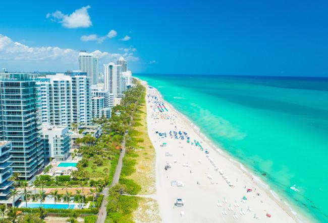 Aerial view of South Beach, Miami Beach. Florida. Atlantic Ocean.