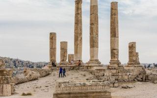 AMMAN, JORDAN - OCTOBER 15, 2018: Temple of Hercules, Roman Corinthian columns at Citadel Hill, Amman, Jordan