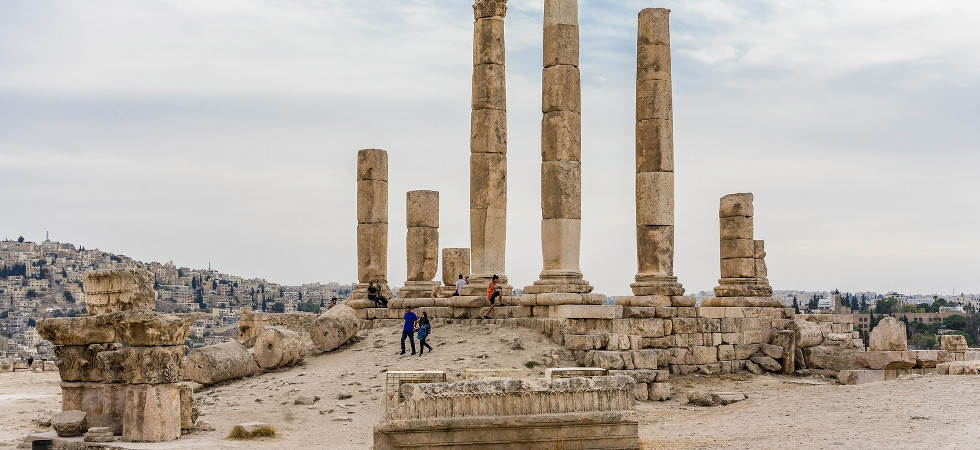 AMMAN, JORDAN - OCTOBER 15, 2018: Temple of Hercules, Roman Corinthian columns at Citadel Hill, Amman, Jordan