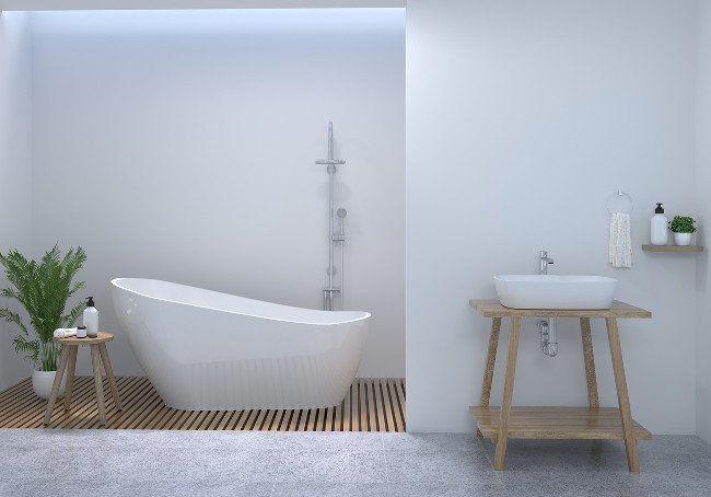 bathroom interior,clean toilet,shower,modern home design 3d rendering for copy space background white tile bathroom