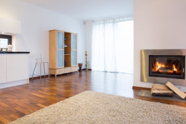 Burning fireplace in spacious living room, horizontal