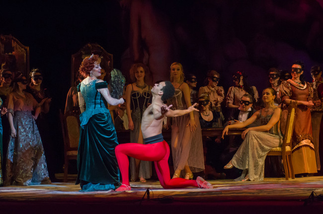 DNIPRO, UKRAINE  FEBRUARY 23, 2019: Classical Opera by Giuseppe Verdi Traviata performed by members of the Dnipro Opera and Ballet Theatre.