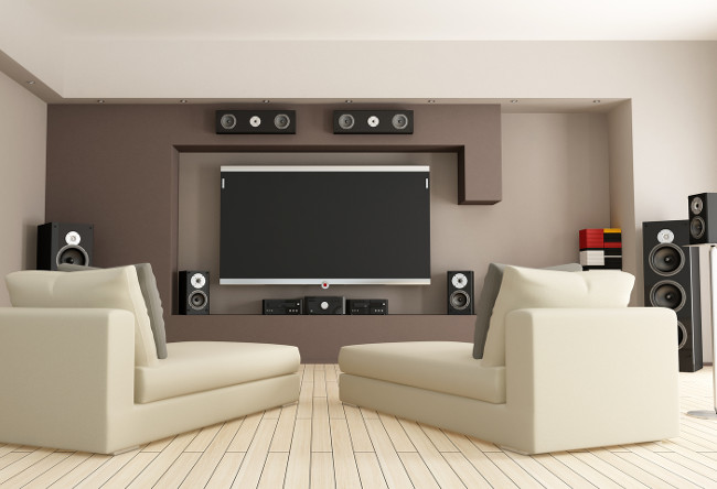 elegant living room with home theatre system - rendering