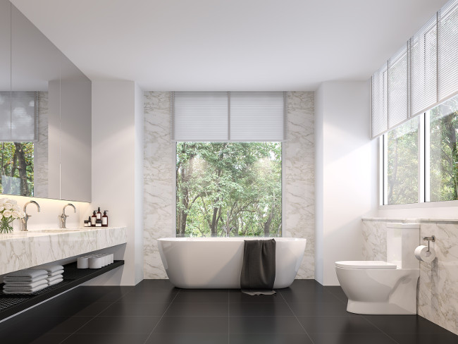 Luxurious bathroom with natural views 3d render,The room has black tile floors, white marble walls, There are large windows sunlight shining into the room.