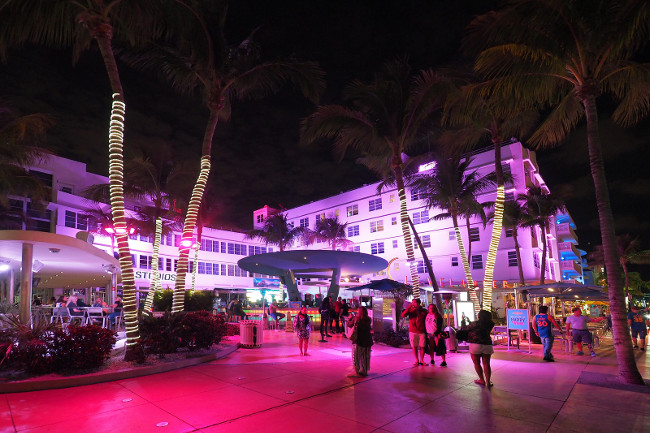 Miami Beach, Florida 12-19-2018 The Miami Beach Art Deco District and Ocean Drive at night.
