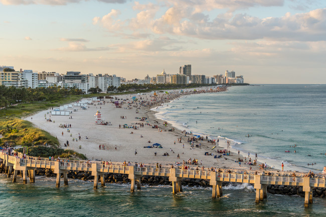 Miami, FL, United States - April 20, 2019:  Miami south beach, view from port entry channel on the Sunset in Miami, Florida, United States of America.