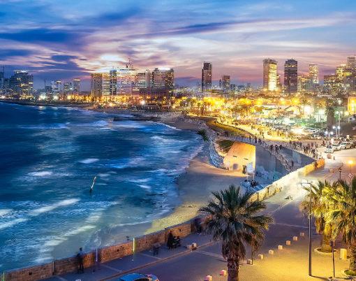 Panoramic view of Tel Aviv at blue time, Israel