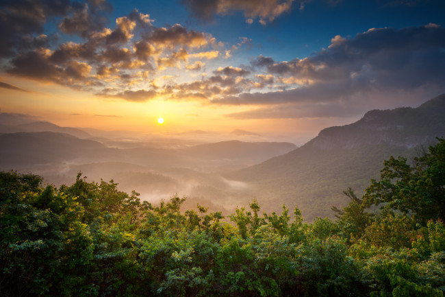 Sunrise Blue Ridge Mountains Scenic Overlook Nantahala Forest Highlands NC in southern Appalachians Spring
