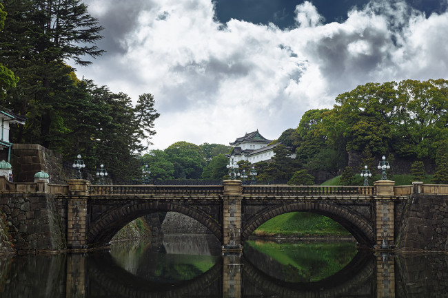 Toyo, Japen - April, 25, 2019: Imperial palace - Imperial Palace with Nijubashi Bridge in Tokyo, Japan.