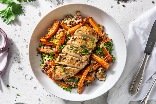 Parisenne Spiced Chicken with Mustardy Lentils and Roasted Carrots