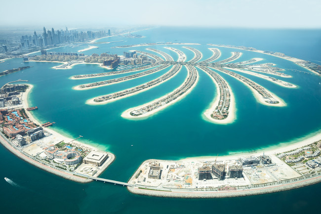 An Artificial Jumeirah Palm Island On Sea Dubai United Arab Emirates